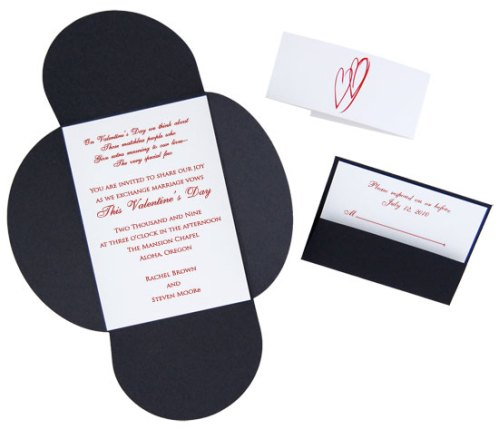 Black Tie Heart Pochette Invitation
