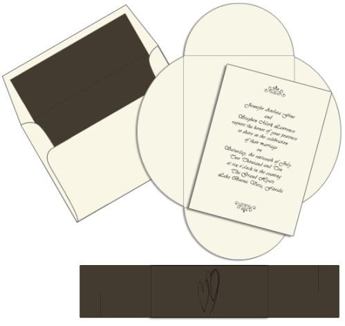 Cappuccino Heart Pochette Invitation