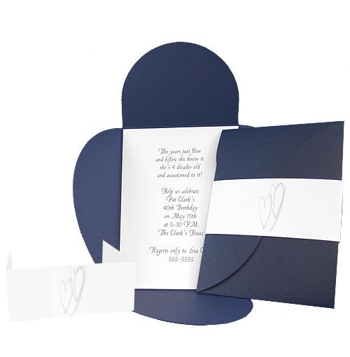 Navy Heart Pochette Invitation