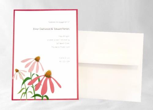 Pink Corn Flower Invitation