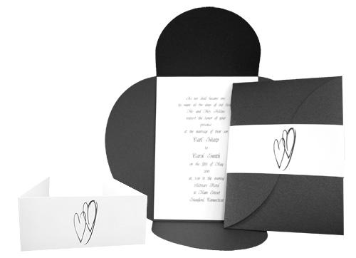 Serious Black Heart Ponchette Invitation