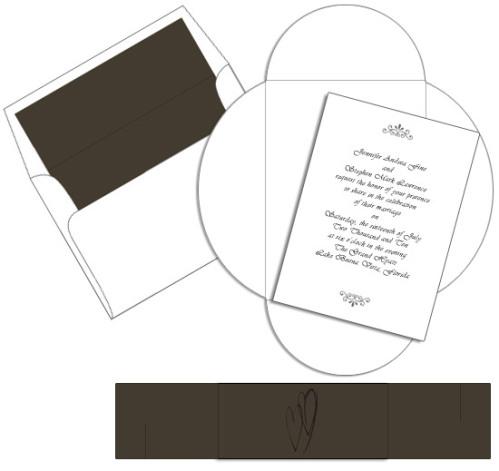 White Chocolate Heart Pochette Invitation
