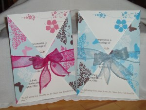 Pink & Blue Butterfly Invitations