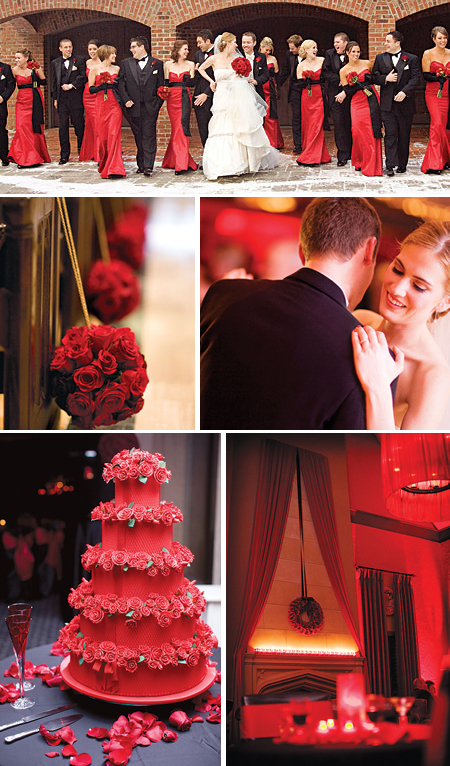 Bold Red and Black Valentines Wedding Perfectly Pink